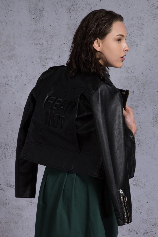 Fear Not Embroidery Faux Leather Biker Jacket