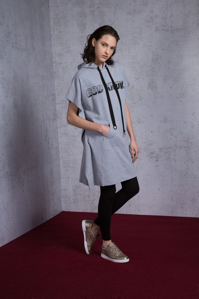Hoodie God Knows Printed Cotton Jersey Dress