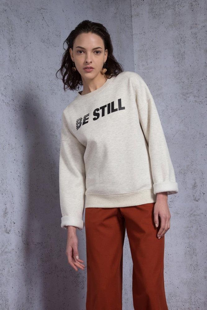 Be Still Printed Fleece Sweatshirt - AMENPAPA Fashion