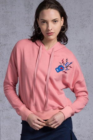 Hooded Boxing Glove Embroidery Crop Sweatshirt - AMENPAPA Fashion