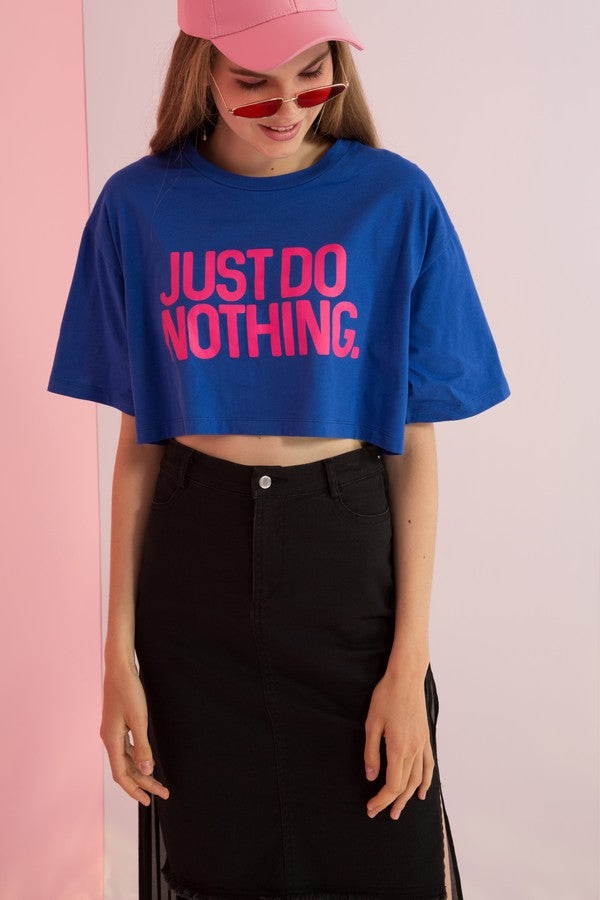Just Do Nothing Printed Boxy Crop Top