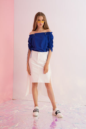 Twill Pencil Skirt with Pleated Chiffon Back - AMENPAPA Fashion