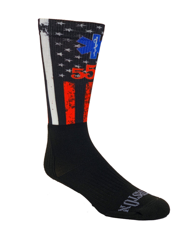 555 FITNESS: EMS RED AND WHITE STRIPE SOCK