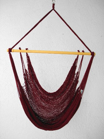 """Mombacho Chair"" - BURGUNDY Sprang-Woven Seat - Hammock Chair"