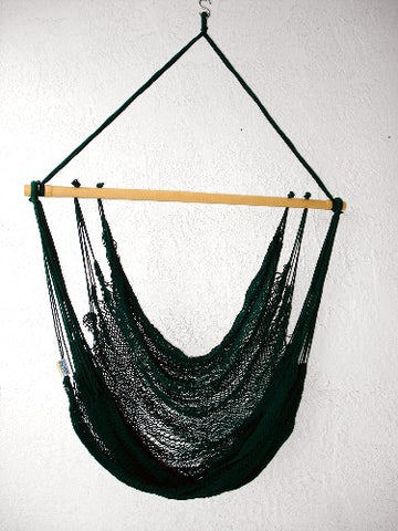 """Mombacho Chair"" - KELLY GREEN Sprang-Woven Seat - Hammock Chair"