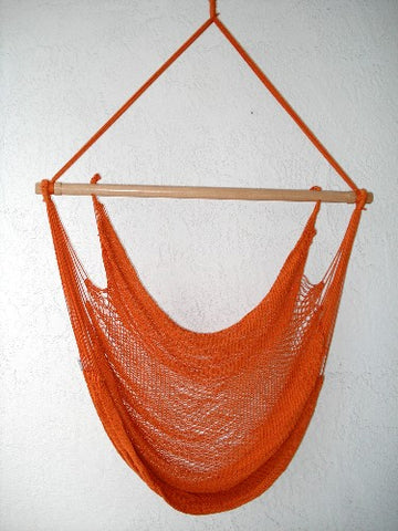 """Mombacho Chair"" - TERRACOTTA (Red & Orange) Sprang-Woven Seat - Hammock Chair"