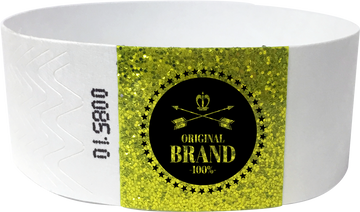"Custom 1-Colour 1"" Tyvek® Wristbands with 1"" Sparkle Strip"