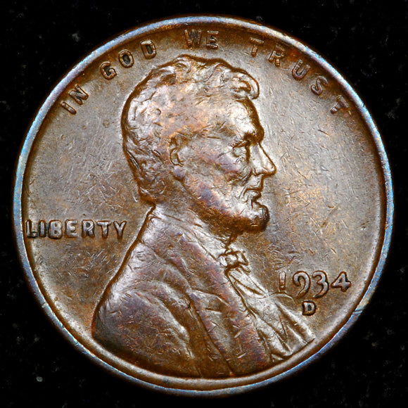 1934-D Lincoln cent : EF+