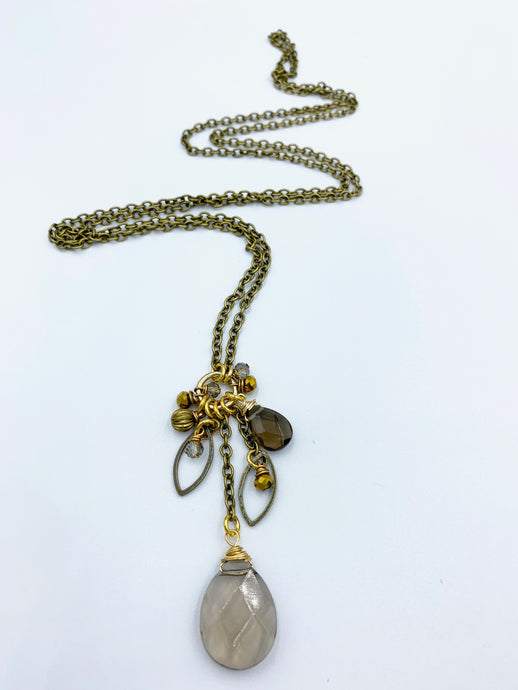 Long Chain and Stone Cluster Necklace