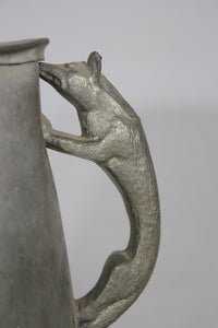 Antique Silver Plate Stein with Fox Handle, Marked TH, 68, Made in England