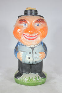 Hand Painted Glass Character Bottle with Jolly Man