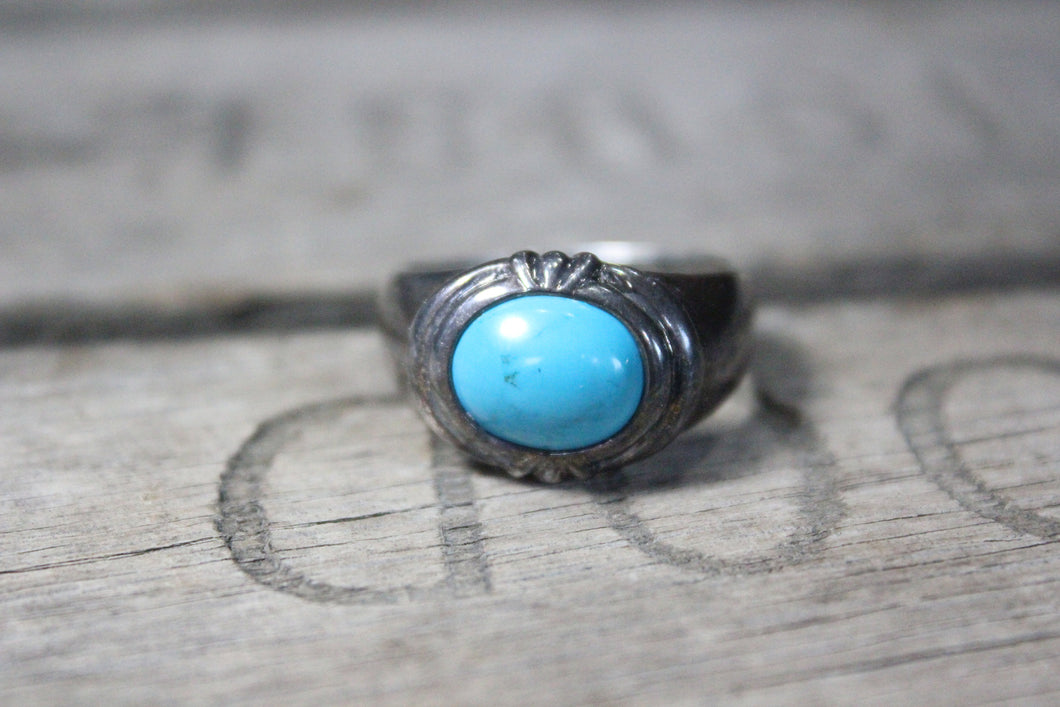Southwest Sterling Silver Ring with Turqouise Stone, Size 11