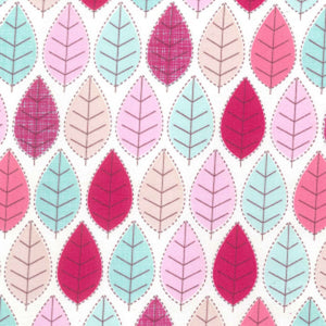 Pink Autumn Modern Leaves Fabric - 100% Cotton - Kims Crafty Corner