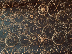 Gold Clocks Steampunk Cosplay Design Cotton Fabric