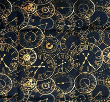 Load image into Gallery viewer, Gold Clocks Steampunk Cosplay Design Cotton Fabric