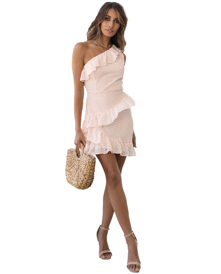 RUNAWAY THE LABEL ONE SHOULDER PEACH DRESS WITH RUFFLE DETAIL