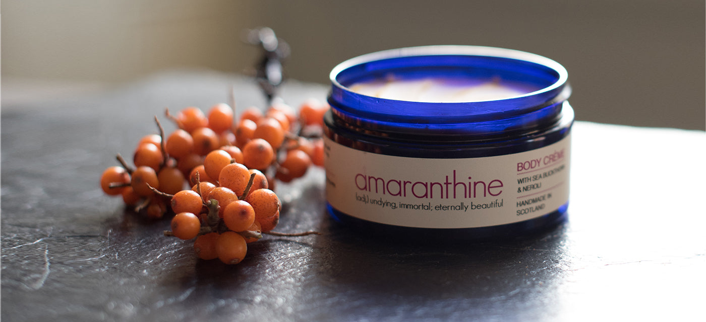 Photo of Body Creme next to Sea Buckthorn.