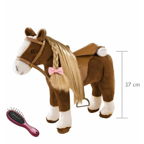 PLUSH COMBING HORSE WITH SADDLE, BRIDLE AND MANE/TAIL TO BRUSH AND STYLE FOR YOUR TREASURED DOLL