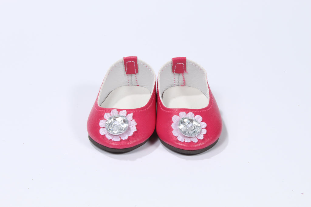 Dark Pink Flats with Large Jewel Flower Toe
