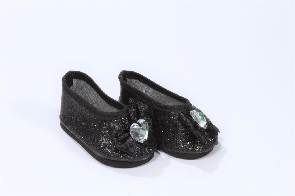 Black Glittery Flats with Jeweled Bow