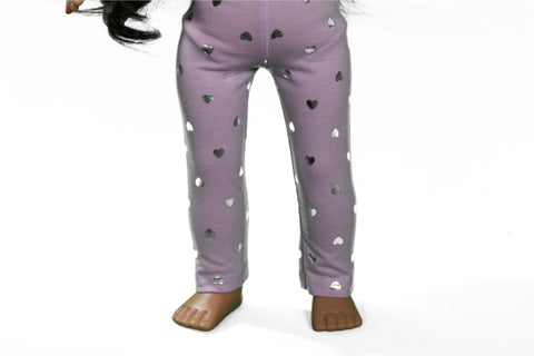 Lavender Leggings with Silver Metallic Hearts