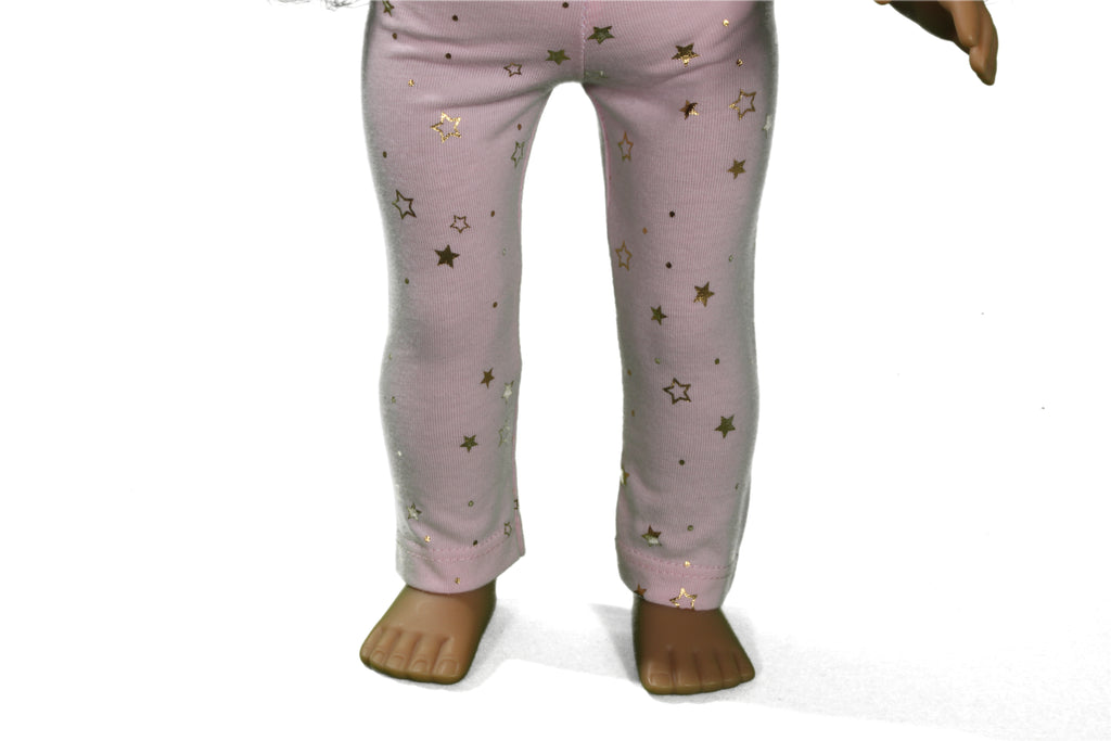 Pink Leggings with Gold Metallic Stars