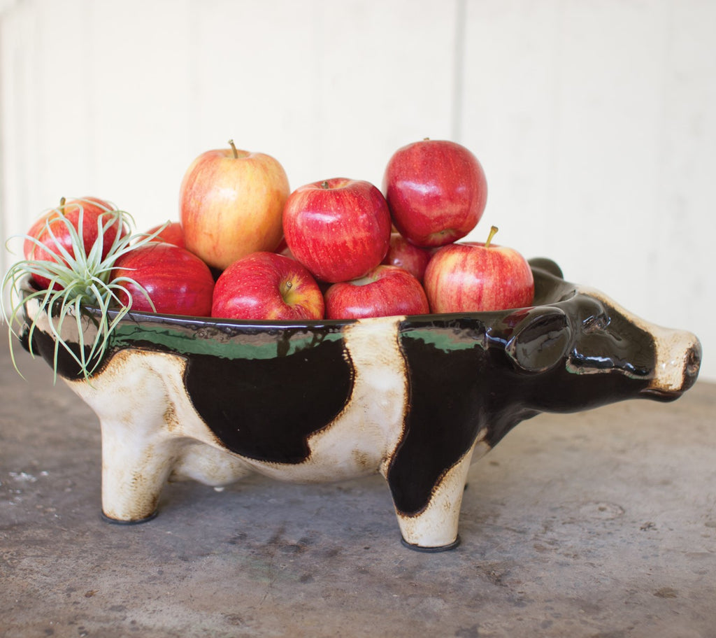 Black & White Ceramic Cow Bowl