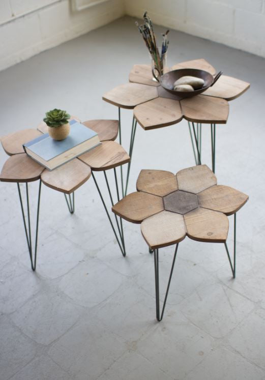 Flower Wood Side Tables - 3 Sizes