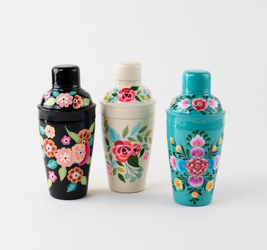 Hand Painted Stainless Steel Floral Cocktail Shakers - 3 Colors