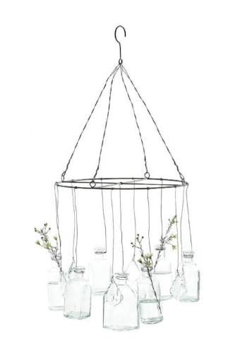 Hanging Glass Vases with Crystals