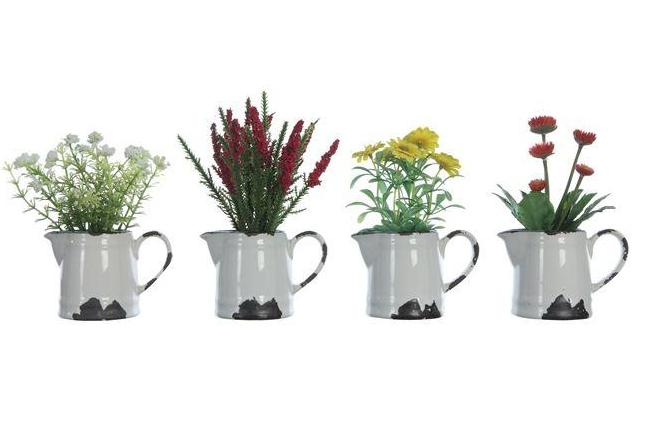 Faux Flowers in Ceramic Pitcher with Distressed Finish