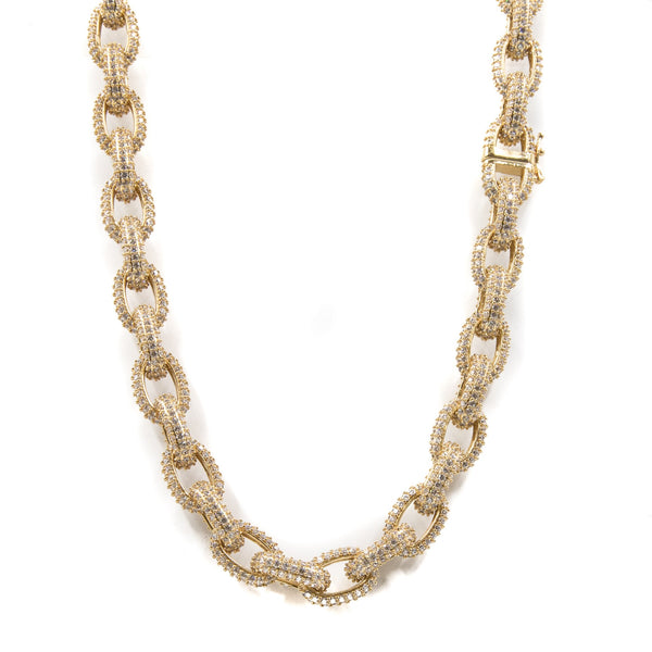 Studded Chain Link Rolo Choker Necklace - 18K Gold Plated - GOLDENGILT