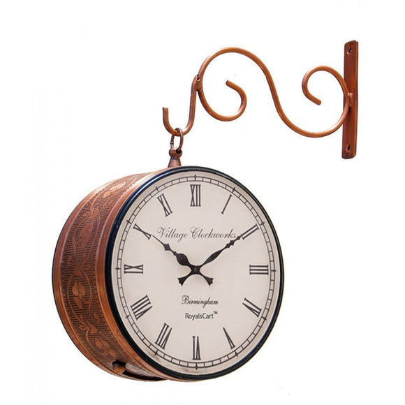 Copper metal antique railway wall clock