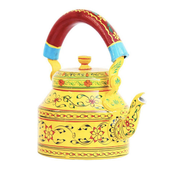 Yellow aluminium tea kettle showpiece