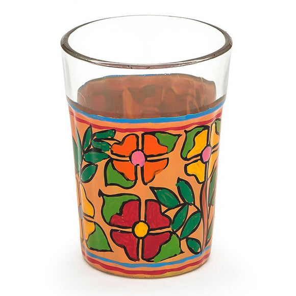 Colourful flowers tea glasses