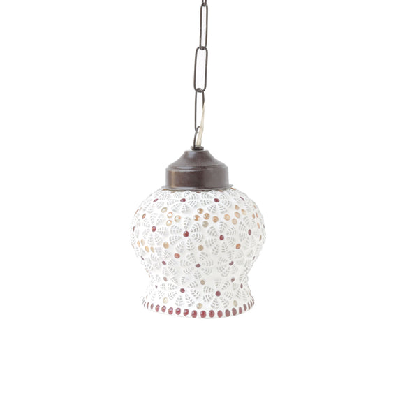 Colourful mosaic hanging pendant lamp