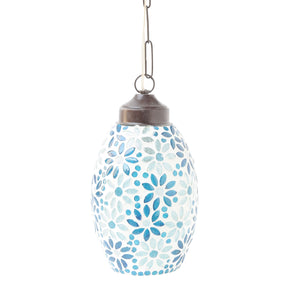 Blue glass flowers pendant ceiling lamp