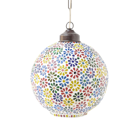 Multicolour Mosaic Glass Round Pendant Ceiling Lamp
