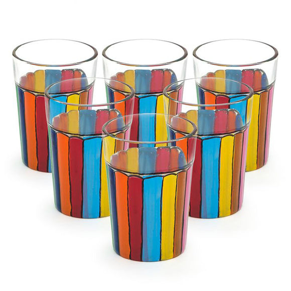 Rainbow Colorful Tea Glass Set Of 6
