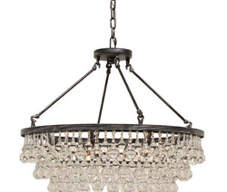 Celeste Glass Drop Crystal Chandelier, Antique Silver, Small