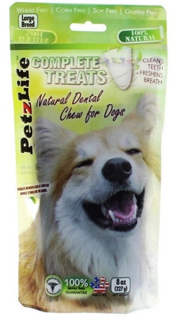 PetzLife Complete Treats Natural Dental Chew for Dogs - Large Breed - 8 oz.