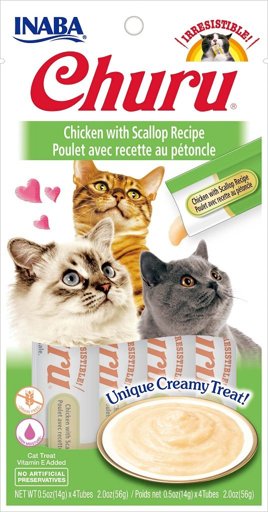INABA Churu Chicken with Scallop Recipe Puree Cat Treat - 2.0 oz | (4) 0.5% Tubes