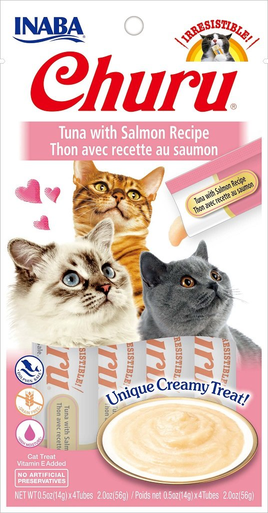INABA Churu Tuna with Salmon Recipe Puree Cat Treat - 2.0 oz | (4) 0.5% Tubes