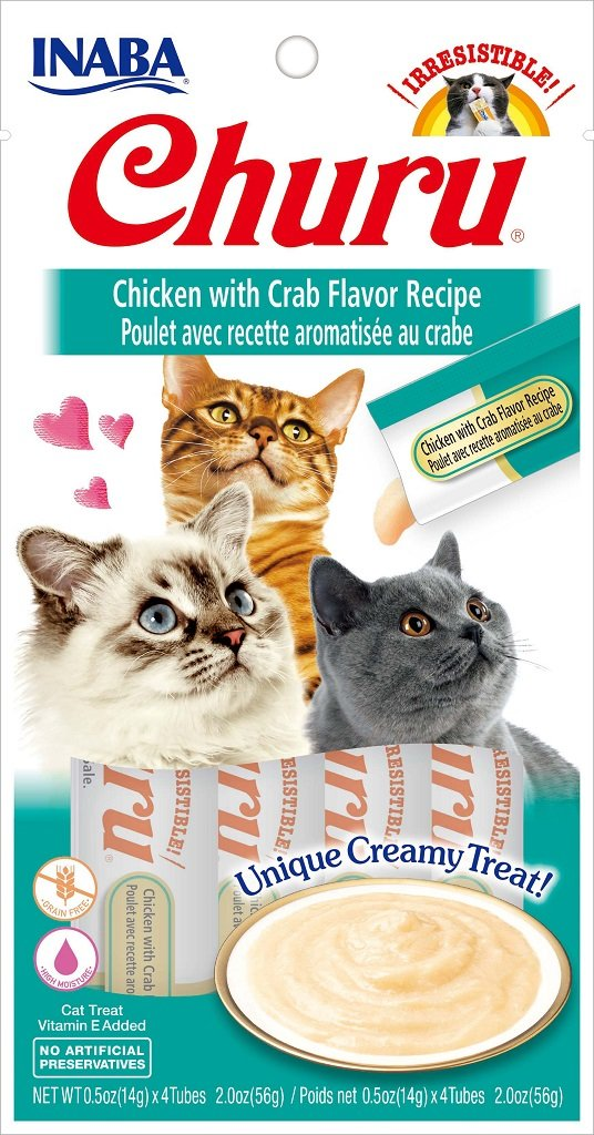 INABA Churu Chicken with Crab Recipe Puree Cat Treat - 2.0 oz | (4) 0.5% Tubes