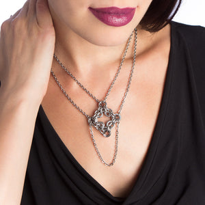 GOTHIC Diamond Pendant with Draping Chain