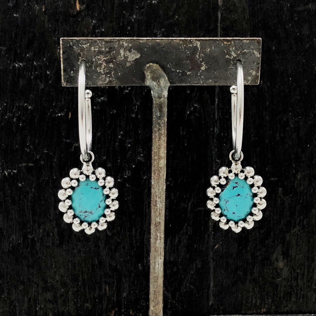 GEMSTONE Oval Turquoise Hoop Earrings