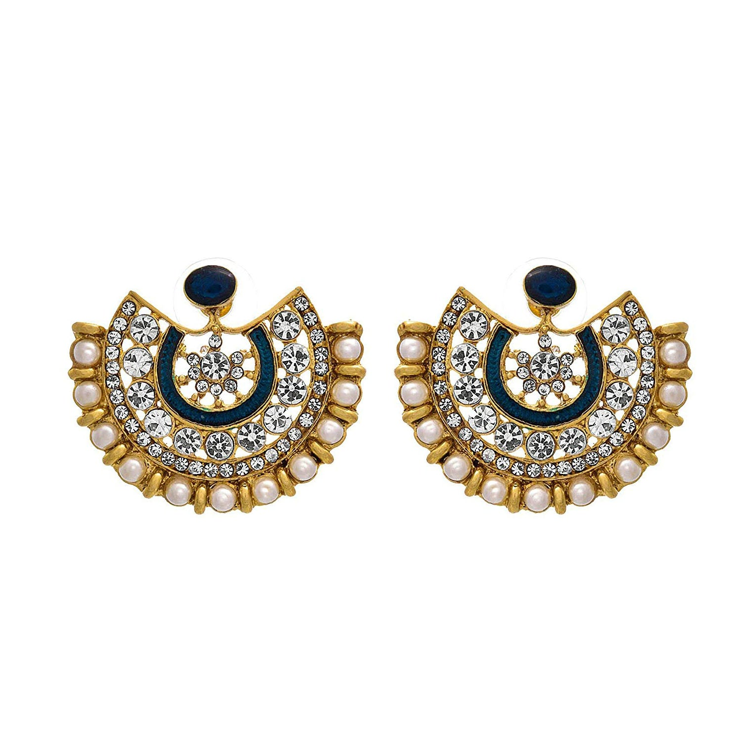 Fusion Ethnic One Gram Gold Plated Austrian Diamond Pearl Blue Meenakari Designer Moon Earring for Women & Girls