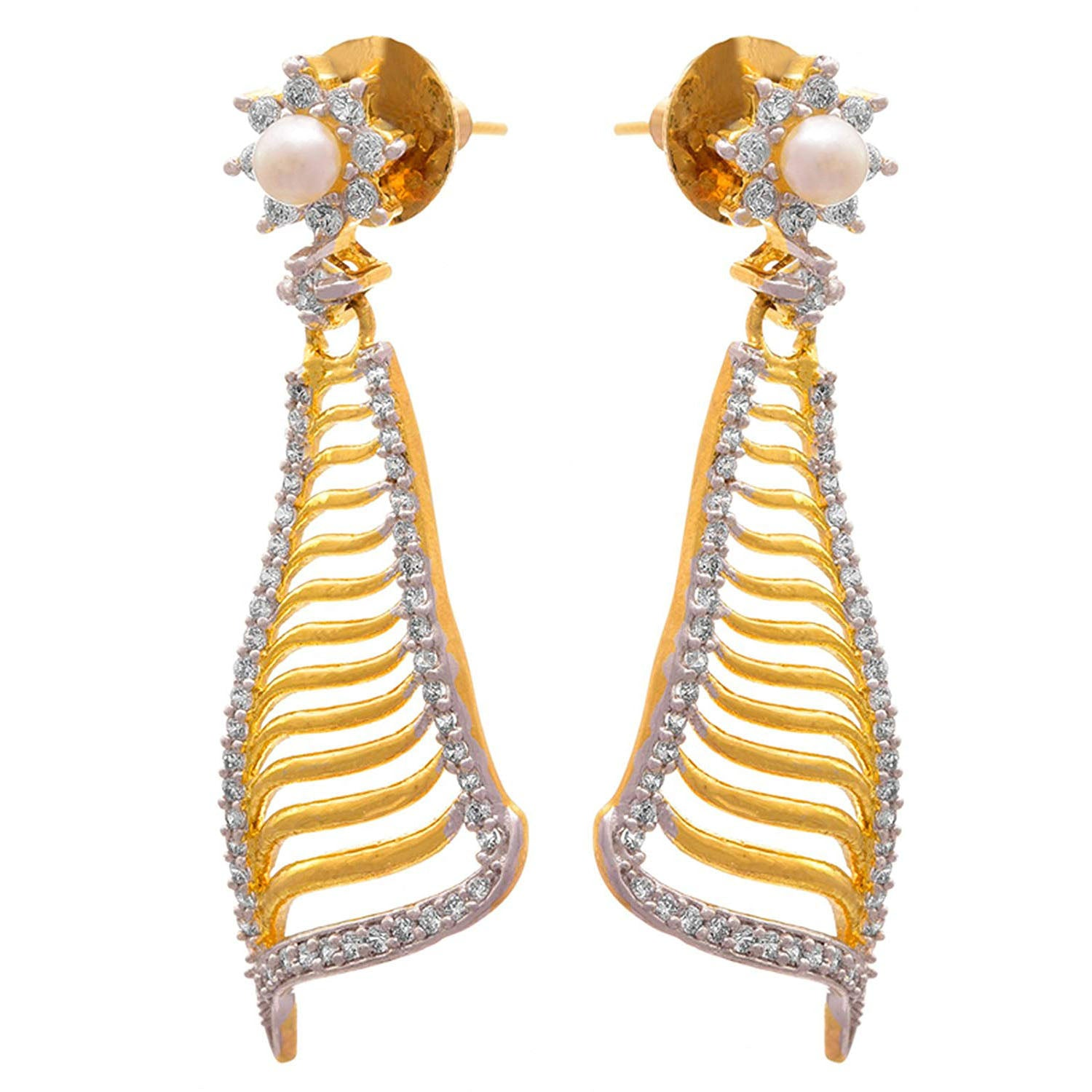 Fusion Ethnic One Gram Gold Plated Cz American Diamonds Pearl Designer Earrings for Women & Girls.