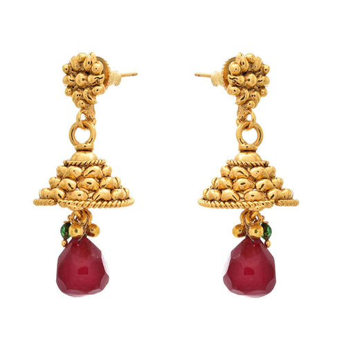 JFL - Traditional Ethnic One Gram Gold Plated Dangler Designer Jhumki for Women & Girls