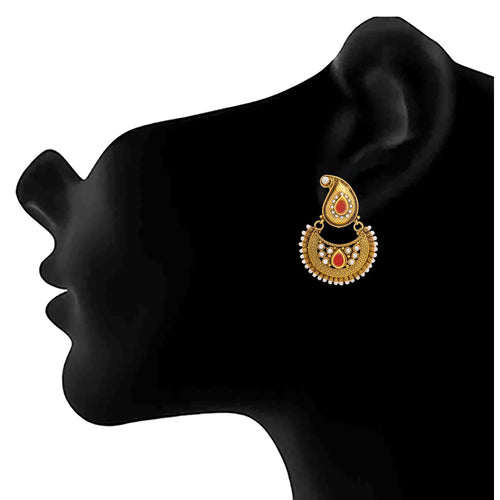 JFL - Traditional Ethnic One Gram Gold Plated Pearls & Red Stone Designer Earring for Women & Girls.
